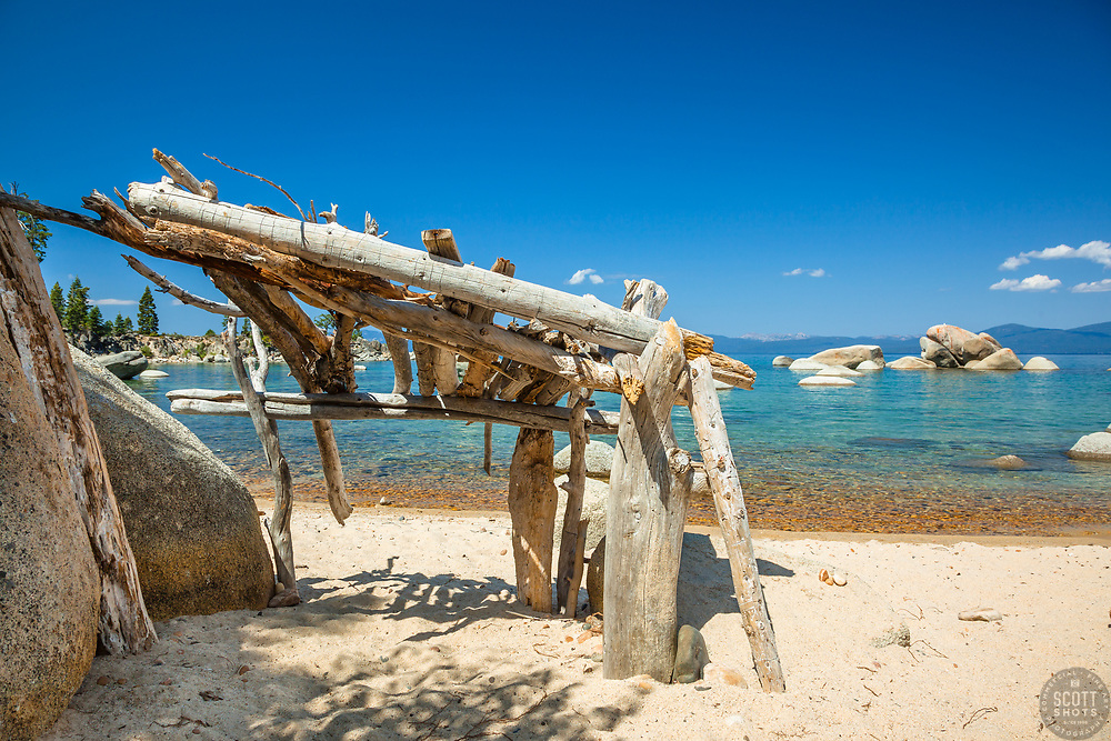 """""""Stick Shelter at Lake Tahoe"""" - This little shelter made of driftwood and sticks was photographed at Whale Beach on the East shore of Lake Tahoe."""