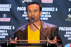 Sept 19, 2012; New York, NY, USA; Juan Manuel Marquez speaks during the press conference announcing his fourth fight against Manny Pacquiao at The Edison Ballroom.