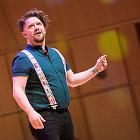 Steven Butler performs on stage at The Biggest Book Show on Earth at the Glasgow Royal concert Hall, 0n 27/02/2017<br /> <br />  The Biggest Book Show on Earthis organised by World Book Day UK as part of the annual celebration of books and reading. This year the roadshow will visit Glasgow, Coventry, Barry, London and Dublin with an all-star line-up of over 30 authors and illustrators, giving over 6,000 children the opportunity to see their literary heroes in person. Around 2,000 local primary school children will attend the Glasgow event at the Royal Concert Hall.
