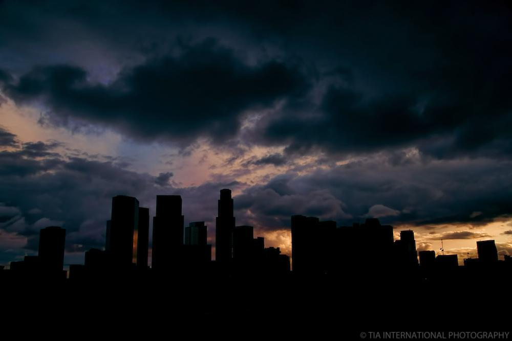 Skyline Silhouette, Hermosa Park, Los Angeles, California.