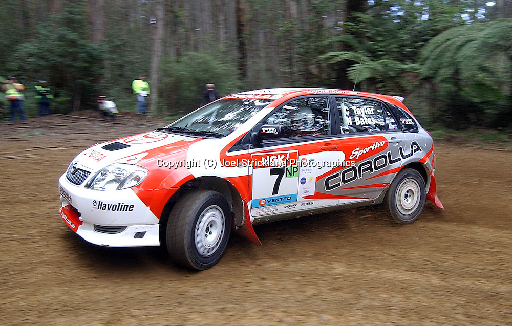 Neal Bates & Coral Taylor .Toyota Corolla Group N P .Motorsport-Rally.2003 NGK Rally of Melbourne.Yarra Valley, Victoria .5th of October 2003 .(C) Joel Strickland Photographics