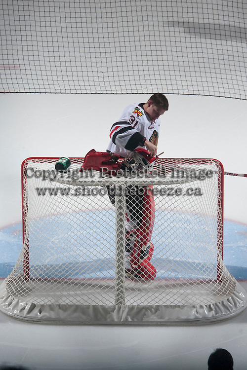 KELOWNA, CANADA - NOVEMBER 22: Adin Hill #31 of Portland Winterhawks stands in net at the start of the game against the Kelowna Rockets on November 22, 2014 at Prospera Place in Kelowna, British Columbia, Canada.  (Photo by Marissa Baecker/Shoot the Breeze)  *** Local Caption *** Adin Hill;