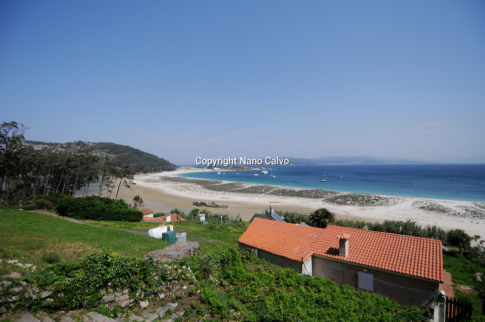 Rodas Beach (Praia das Rodas) in Cies Islands (Islas C&iacute;es), a paradisiac archipelago and Natural Reserve since 1908, off the coast of Pontevedra, in Galicia, Spain. <br /> <br /> In the year 2007, the British newspaper The Guardian chose this beach, in the island of Monteagudo, as the &quot;most beautiful beach of the world&quot;.