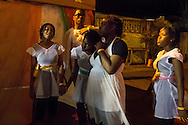 Gros Islet, Saint Lucia: Dancers wait backstage at a Christian revival event on Good Friday.