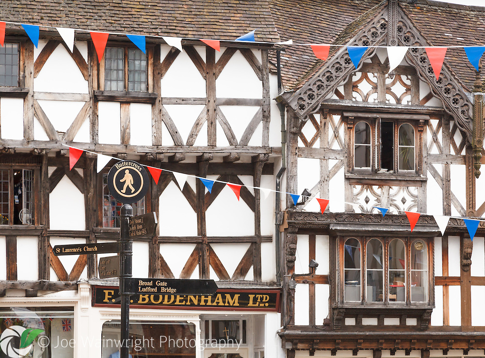Traditional half timbered buildings in Broad Street, Ludlow.
