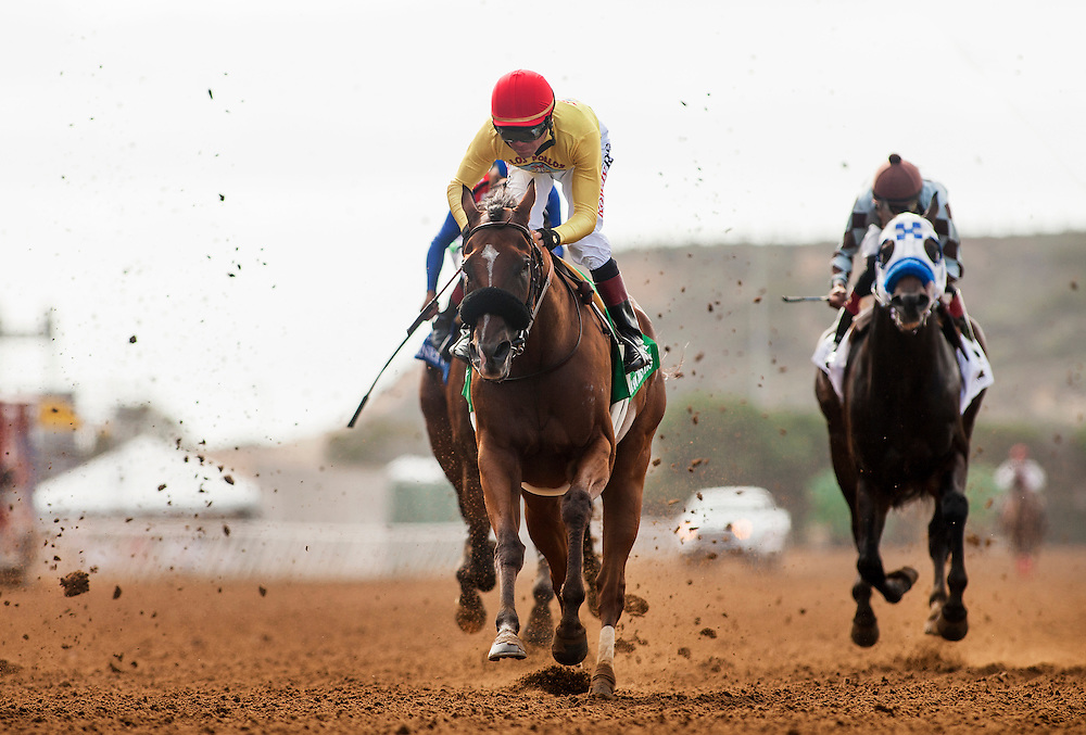 "July 26 2015: Masochistic with Tyler Baze crosses the wire second in the Bing Crosby Stakes a Breeders' Cup ""Win and You're In"" race at Del Mar Race Course in Del Mar CA. Alex Evers/ESW/CSM"