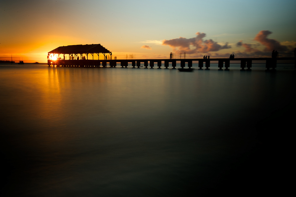 Hanalei Pier at sunset, Hanalei, Kauai