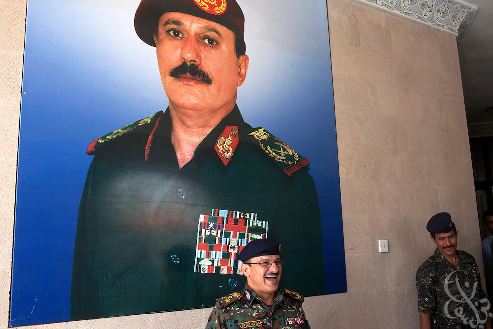 Brigadier General Yahya Mohammed Abdullah Saleh, Chief of Staff of Yemen's Central Security Forces jokes with a group of journalists at the Central Security Forces Headquarters April 14, 2010 in the Yemeni capital Sana'a. Brig. General Saleh is the nephew of Yemeni President Ali Abdullah Saleh, and is in charge of Yemen's 50,000 + strong Central Security Forces under the Ministry of Interior.