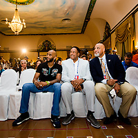 MLB players take part in a press conference at the Hotel Nacional de Cuba at the beginning of a goodwill trip to Havana, Cuba. (Photo by Chip Litherland/The Players' Tribune)