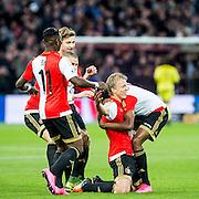 ROTTERDAM - Feyenoord - AZ , Voetbal , Eredivisie, Seizoen 2015/2016 , Stadion de Kuip , 25-10-2015 , Speler van Feyenoord Dirk Kuyt (2e r) viert zijn doelpunt en word gefeliciteerd door zijn medespelers