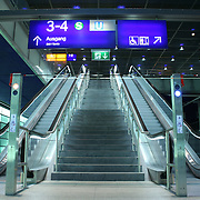 wide view of escalators