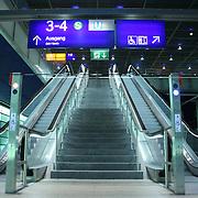 wide view of escalators