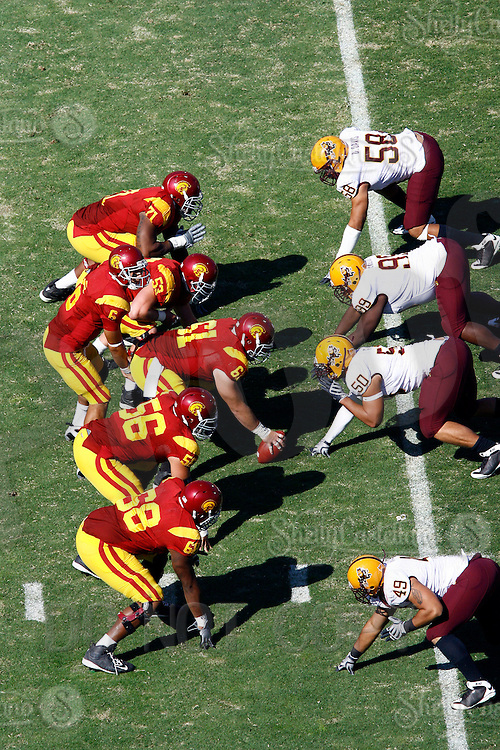 11 October 2008: Quarterback #6 Mark Sanchez at the line of scrimmage from an  elevated view during the NCAA Pac-10 USC Trojans 28-0 shut-out win over the Arizona State University Sun Devils during a day college football game at the Los Angeles Memorial Coliseum in Southern California.