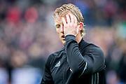 ROTTERDAM - Feyenoord - PSV , Voetbal , Eredivisie , Seizoen 2016/2017 , De Kuip , 26-02-2017 ,  Feyenoord speler Dirk Kuyt start op de bank en baalt bij de warming up