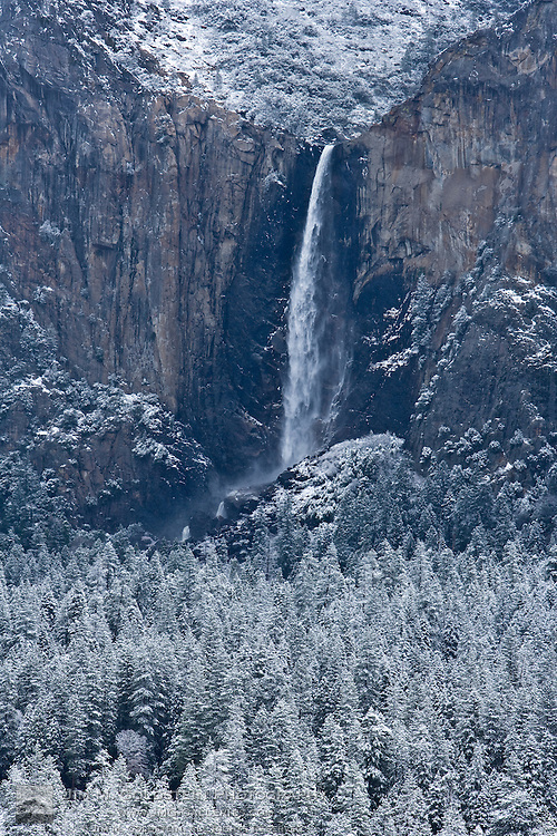 Bridaveil Fall and Yosemite valley after a snow storm - Yosemite National Park, California