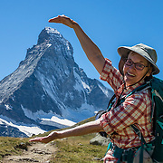From Zermatt, hike the scenic Höhbalmen Höhenweg loop via Bergrestaurant Edelweiss, Trift Hut and Zmutt, in the Pennine Alps, Switzerland, Europe. With delightful views of the Matterhorn plus other peaks and glaciers, this strenuous walk went up and down 1200 meters over 21.6 km (13.4 miles). This image was stitched from multiple overlapping photos. For licensing options, please inquire.