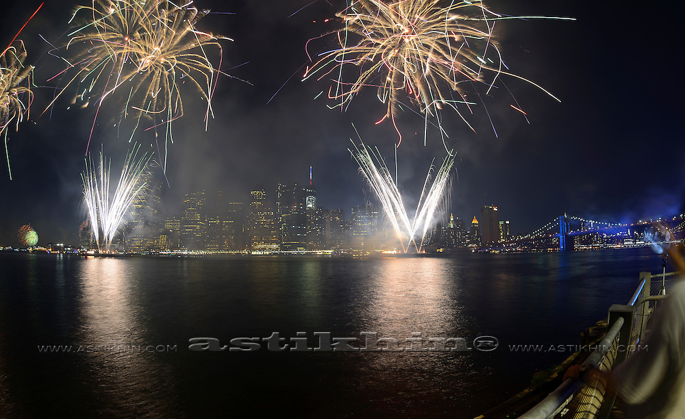 Firework in New York City on East River.