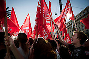 The left wing party of Antartasia hold their caimpaign in front of the library on Panepistimiou avenue.  Athens, Greece. Image © Angelos Giotopoulos/Falcon Photo Agency