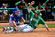Davis High School's Hudson Forrester (14) fails to make the tag at home of St. Mary's High School's Cade Peters (30), as Davis losses game two 1-0, i n the best of three series to St. Mary's in the Sac-Joaquin Section Baseball Championship game between at University of the Pacific, Saturday May 31, 2014.<br /> Brian Baer/Special to the Bee
