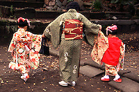 Little Japanese girls out on Shichi-Go-San, literally 7-5-3, a traditional rite of passage and festival day in Japan for children the age of seven, five or three, held annually on November 15.  As Shichi-Go-San is not a national holiday, it is normally observed on the nearest weekend.  Children are still dressed in kimono, many for the first time, for visits to shrines though western-style formal wear is also worn by some children.