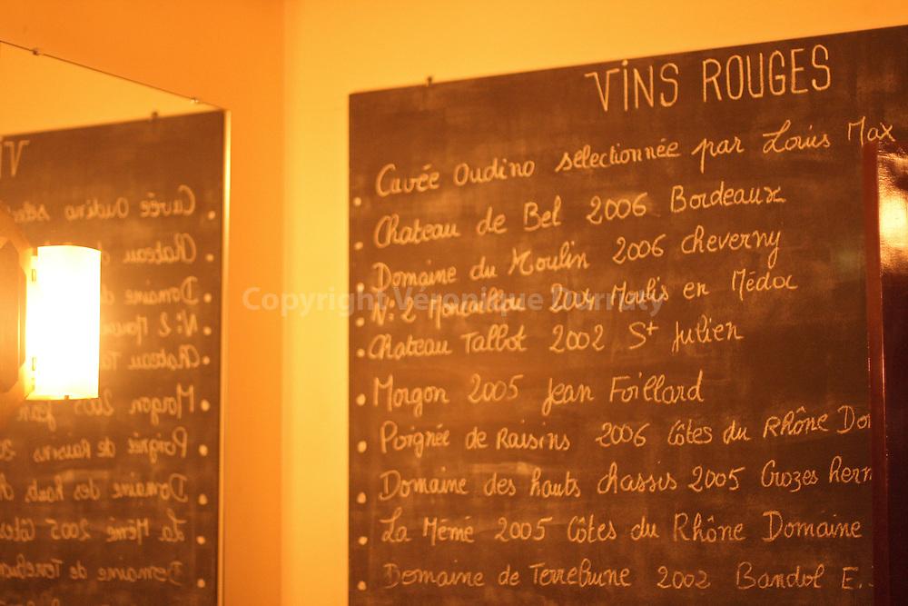 Wine menu at the Oudinot  (Paris VIIeme) where Marie Salamagne likes to go.  Carte des vins a l Oudinot ( Paris VII eme) ou Marie Salamagne aime se rendre.