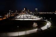 OHIO, Toledo, October 28, 2012:  Empty parking and skyline of Toledo. ALESSIO ROMENZI