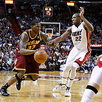 24 January 2012: Cleveland Cavaliers small forward Alonzo Gee (33) drives past Miami Heat small forward James Jones (22) during the Miami Heat 92-85 victory over the Cleveland Cavaliers at the AmericanAirlines Arena, Miami, Florida, USA.
