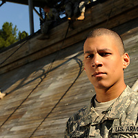 U.S. Army Private Keenan Hampton prepares to repel down a tower during basic military training at Fort Jackson, S.C., on October 23, 2008.