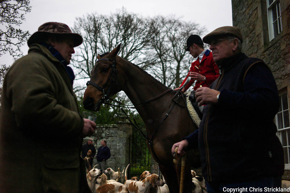 Followers of the Jedforest Hunt enjoy fine hospitality while at a meet at Hunthill House.