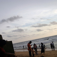 COLOMBO, 4 OCTOBER , 2005: locals enjoy the sunset at the beach in Colombo, Sri Lanka. Locals were afraid to go down to the beaches for weeks after the earthquake on December 26, 2004, measuring 9 on the Richter scale triggered a series of tidal waves which caused devastation when they struck dry land. In total 12 countries were affected by the tsunami, with a combined death toll of over 280,000.