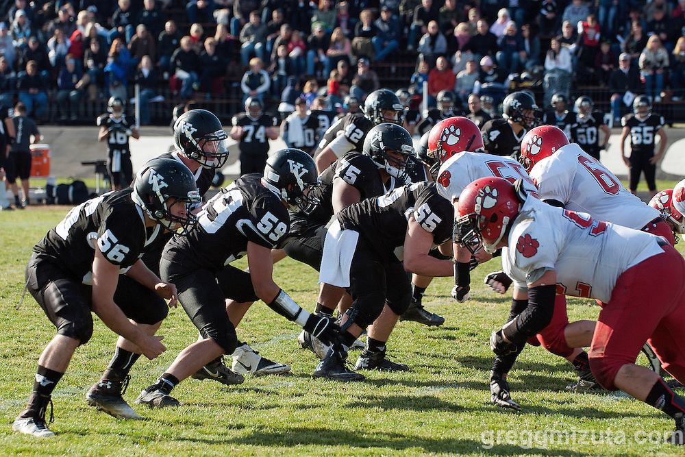Vale's offense (L to R: Keaton Kimball, Garret DeVos, Josh Schoorl, Tyson Aldred, Kye Yraguen, Sage Delong) in action against  Clatskanie, November 9, 2013 at Frank Hawley Stadium Vale High School, Vale, Oregon. Vale won 46-0.