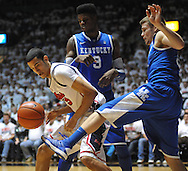 "Mississippi's Anthony Perez (13), Kentucky's Nerlens Noel (3), and Kentucky's Jarrod Polson (5) battle for the ball at the C.M. ""Tad"" Smith Coliseum on Tuesday, January 29, 2013.  (AP Photo/Oxford Eagle, Bruce Newman).."