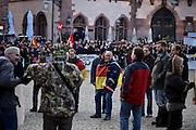 Frankfurt am Main | 30 Mar 2015<br /> <br /> Am Montag (30.03.2015) demonstrierten etwa 40 Menschen unter dem Namen &quot;Freie B&uuml;rger f&uuml;r Deutschland&quot; auf dem R&ouml;merberg in Frankfurt am Main gegen Islamisierung und zahlreiche andere &Uuml;bel, die Gruppe war zuvor unter dem Namen &quot;PEGIDA&quot; aufgetreten. Etwa 600 Menschen protestierten lautstark gegen diese Kundgebung.<br /> Hier: &quot;Freie B&uuml;rger f&uuml;r Deutschland&quot;-Demonstranten.<br /> <br /> &copy;peter-juelich.com<br /> <br /> [No Model Release | No Property Release]