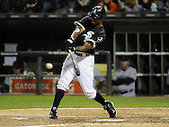 CHICAGO - SEPTEMBER 08:  Juan Pierre #1 of the Chicago White Sox hits a single for his 2000th Major League hit off of David Huff #31of the Cleveland Indians in the third inning on September 9, 2011 at U.S. Cellular Field in Chicago, Illinois. (Photo by Ron Vesely)