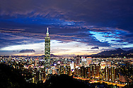 The Taipei City skyline as seen from Elephant Mountain, one of Taiwan most accessible hikes.