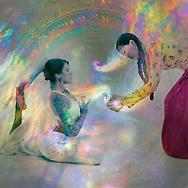 Female avatars in a ritual of sacremental light. Photo by Elena Ray www.AntarAtma.me
