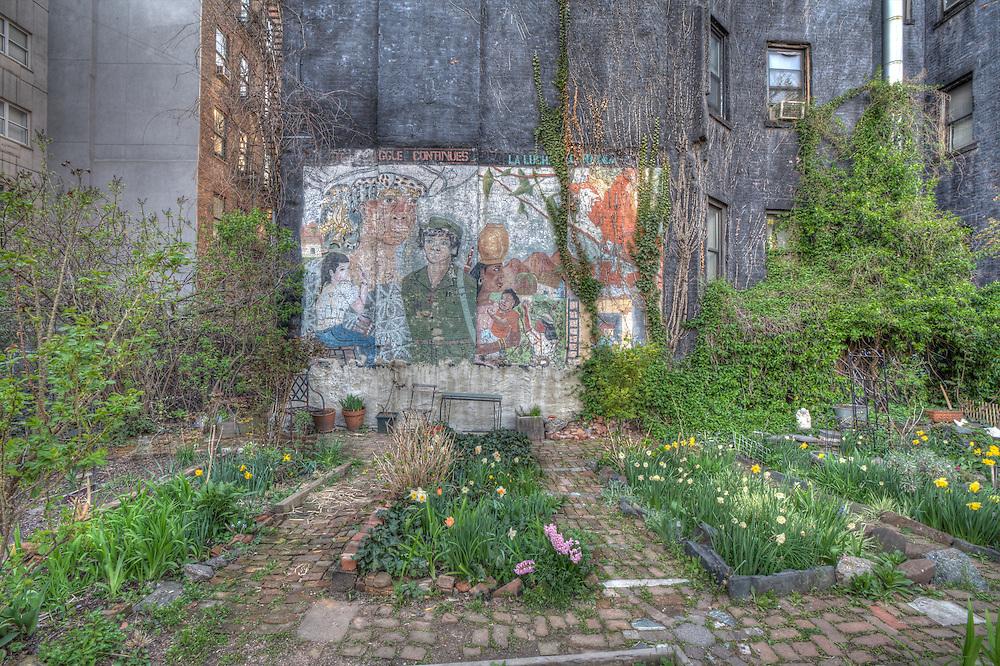 Wall art in  the Lower East Side gardens.