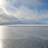 Mount Erebus, an active volcano, viewed from McMurdo Sound.