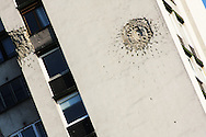 Bullet on Sarajevo building.<br /> July 11th will mark 20 years of anniversary of the genocide