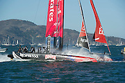 Emirates Team New Zealand round the first mark in their semi final match race against Artemis Red on day four of the America's Cup World Series, San Francisco. 6/10/2012