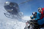 Jono Brauer and Craig Branch at Points North Heliskiing in Corova Alaska. MR
