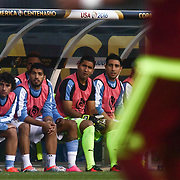 Injured Uruguay Attacker LUIS SUAREZ (9), third from left, watches the game from the bench in the first half of a Copa America Centenario Group C match between Uruguay and Venezuela Thursday, June. 09, 2016 at Lincoln Financial Field in Philadelphia, PA.