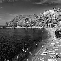 Infrared photo Monterosso Cinque Terra beachside, Italy