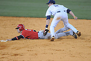 Austin Peay's Reed Harper (15) steals second as Ole Miss' Alex Yarbrough (2) applies the tag at Oxford-University Stadium in Oxford, Miss. on Tuesday, March 1, 2010.