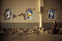 inside a church after an earthquake - Popayan, Colombia, 1982 - photograph by Owen Franken