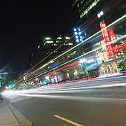 USA, Virginia, Arlington (Crystal City). A night view of Crystal Drive.