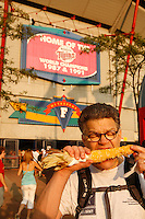 Al Franken at Minnesota Twins game, eating Minnesota corn on the cob