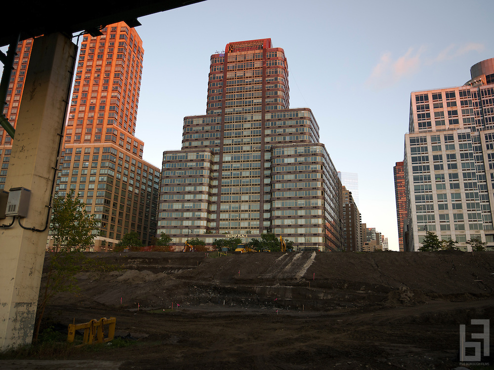 The finishing touches are put on Trump Place.  Landscaping is seen in progress in front of the new develoment on the Hudson River on the upper west side of Manhattan