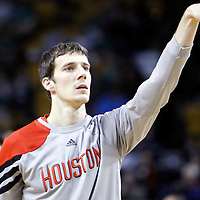 06 March 2012: Houston Rockets point guard Goran Dragic (3) warms up prior to the Boston Celtics 97-92 (OT) victory over the Houston Rockets at the TD Garden, Boston, Massachusetts, USA.