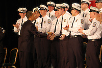 President Obama personally congratulates each of the 25 Columbus Police Academy graduates.